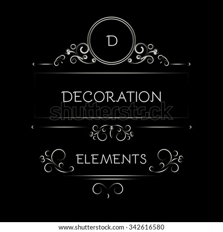 Elegant Page Decoration Element Collection. Dark Design. Vector illustration - stock vector