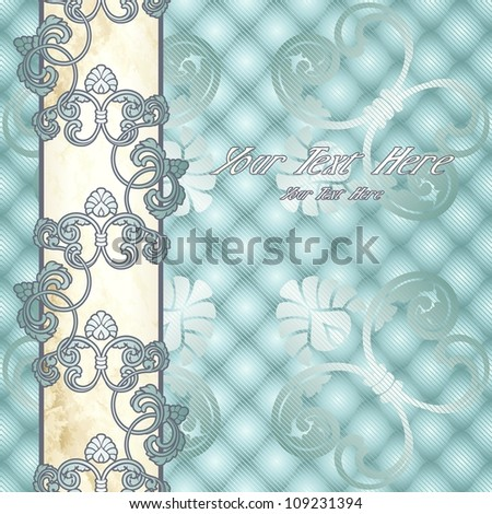 Elegant pale blue Rococo background with ornamental margin (EPS10); jpg version also available - stock vector