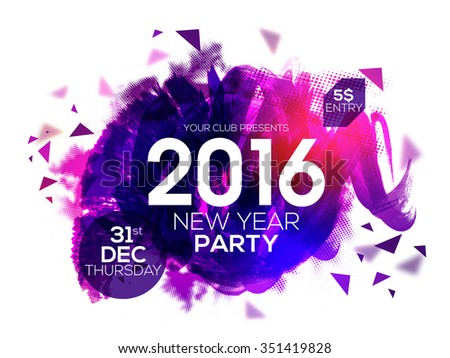 Elegant party invitation card with glossy abstract design for Happy New Year 2016 celebration. - stock vector
