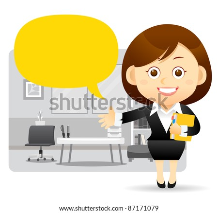 Elegant People Series | Beautiful business woman , chart board and office. - stock vector