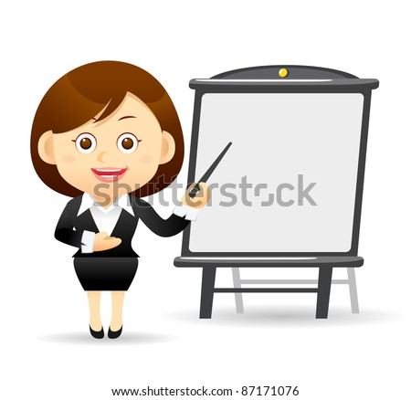 Elegant People Series | Beautiful business woman with pointer and chart board - stock vector