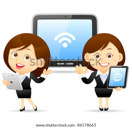 Elegant People Series | Beautiful business woman with Tablet PC - stock vector