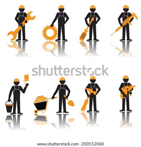 Elegant People Series.  Builder set. Construction worker - stock vector