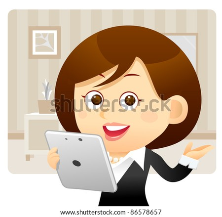 Elegant People Series | Business woman with Tablet PC at the office - stock vector