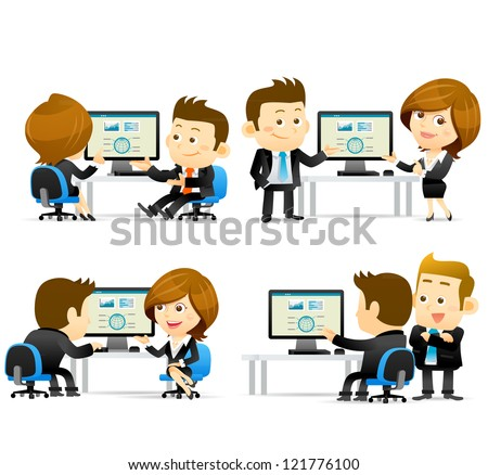 Elegant People Series -Businesspeople at computer - stock vector