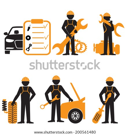 Elegant People Series.Car service maintenance icon - stock vector