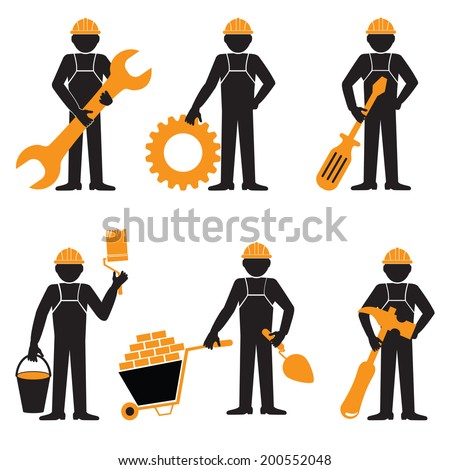 Elegant People Series.Construction worker  - stock vector