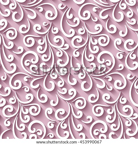 Elegant pink background with paper swirls, vector seamless pattern, eps10