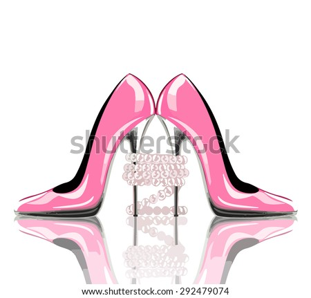 Elegant pink, high heel shoes with pearl jewelry. Shoes, symbol for wedding and engagement. Vector eps10. - stock vector