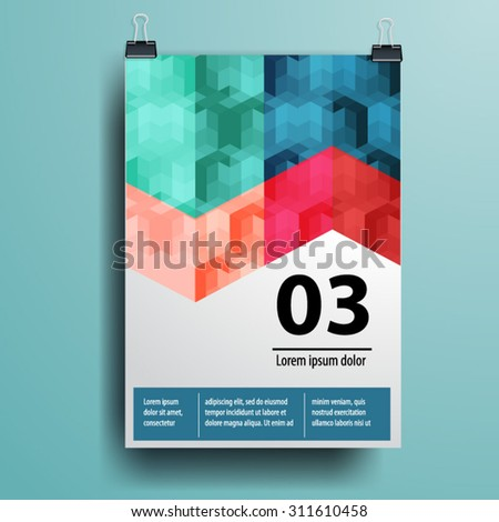 Elegant poster template design with geometry pattern for your company. Cover layout. Business stationery. - stock vector