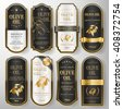 elegant premium olive oil labels set collection over pearl white  - stock vector