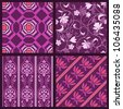 Elegant purple seamless pattern set.This beautiful patterns can be used for wallpaper, pattern fills, web page background, surface textures. - stock vector