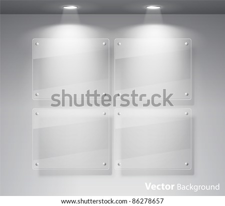 Elegant realistic glass frames on a wall with lights for images and advertisement. Fully editable eps10