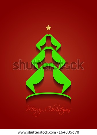 Elegant red color Christmas background with creative Christmas tree. vector illustration - stock vector