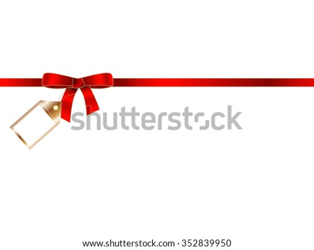 Elegant red gift ribbon bow with golden badge