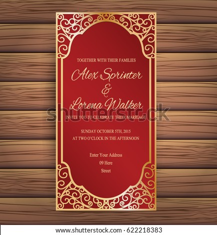 Elegant red gold wedding invitation card stock vector royalty free elegant red gold wedding invitation card stopboris Gallery