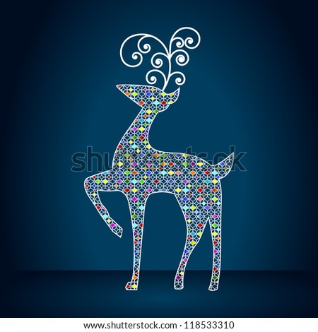 Elegant reindeer illustration - stock vector