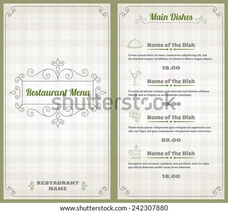Elegant restaurant menu list with decorative elements on squared background vector illustration - stock vector