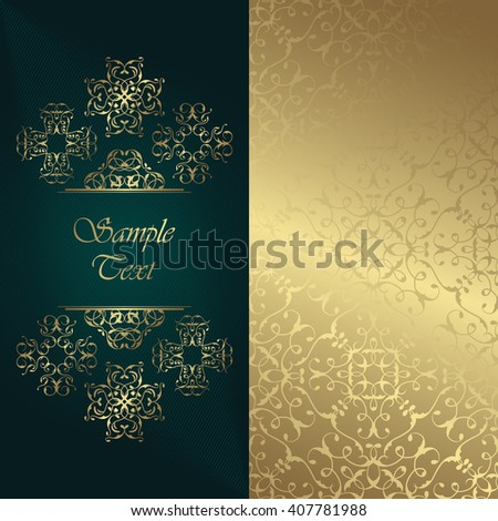 Elegant retro invitation. Retro card with lace ornaments, seamless wallpaper and place for text