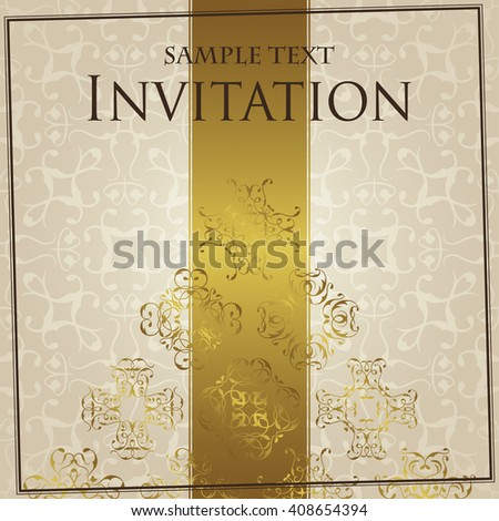 Elegant retro invitation. Retro invitation with lace ornaments and place for text. Seamless background