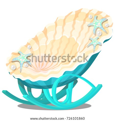 Elegant Rocking Chair Form Of Exotic Seashell With Starfish And Pearls.  Interior Element On The