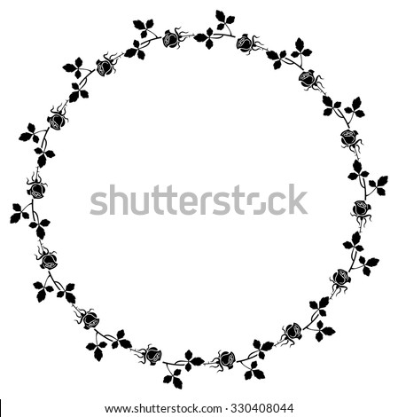 Elegant round frame with roses silhouettes - stock vector