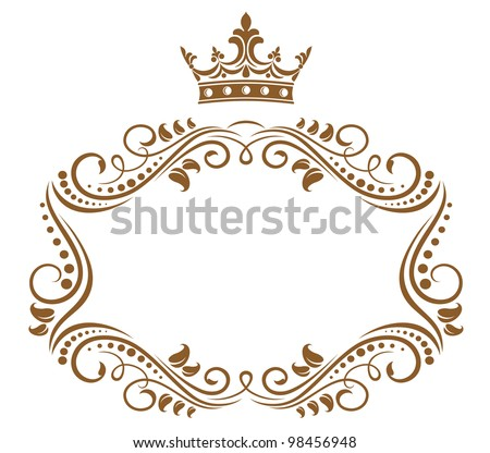 Elegant royal frame with crown isolated on white background. Jpeg version also available in gallery - stock vector