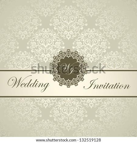 Elegant Royal Wedding Card, seamless damask background, Light golden style - stock vector