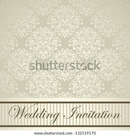 Elegant royal wedding card with light damask design - stock vector