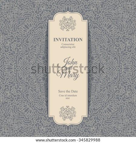 Elegant Save the Date card design. Vintage floral invitation card template. Luxury swirl mandala greeting card. - stock vector