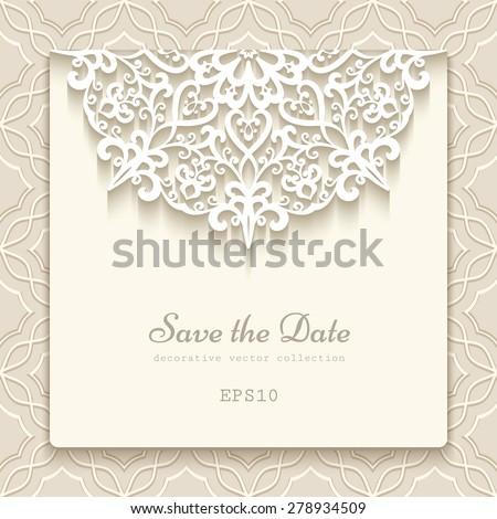 Elegant save date card lace decoration stock vector 278934509 elegant save the date card with lace decoration vintage wedding invitation or announcement template stopboris Images
