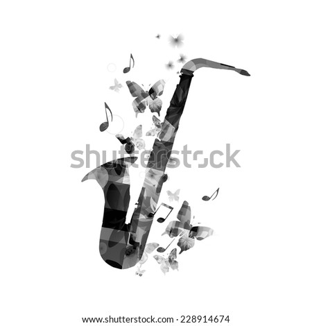 Elegant saxophone design - stock vector