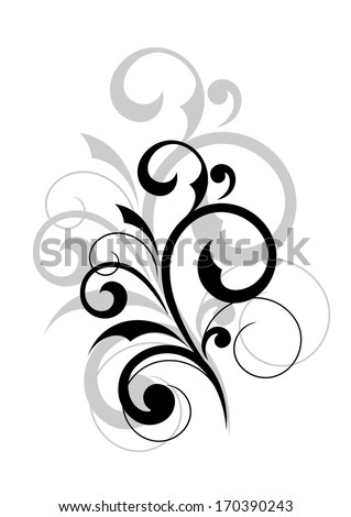 Elegant scrolling foliate design element on white background. Rasterized version also available in gallery