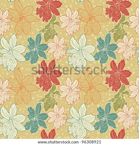 Elegant Seamless Floral Hand-Drawn Wallpaper Vintage Colored