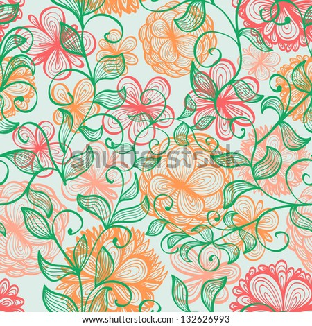 Elegant seamless hand drawn background with soft pink flowers and branches