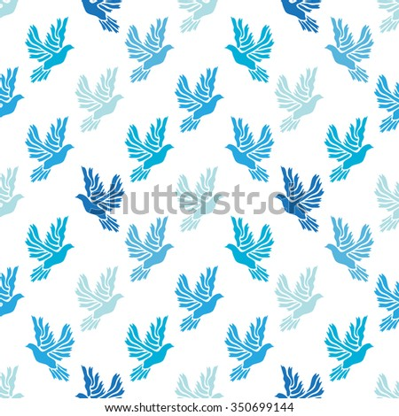 Elegant seamless pattern with abstract dove symbols, design elements. Can be used for invitations, greeting cards, scrapbooking, print, gift wrap, manufacturing. Bird theme - stock vector