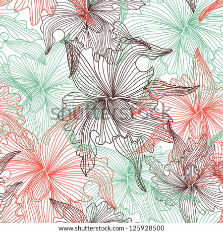 elegant seamless pattern with abstract orchid flowers for your design - stock vector