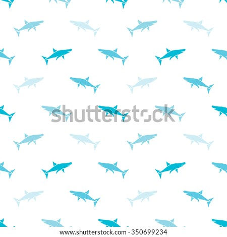 Elegant seamless pattern with abstract shark symbols, design elements. Can be used for invitations, greeting cards, scrapbooking, print, gift wrap, manufacturing. Sea life theme - stock vector