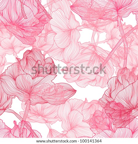 elegant seamless pattern with beautiful pink roses for your design - stock vector
