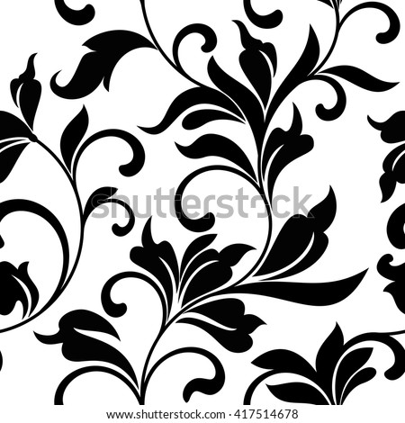 Elegant seamless pattern with black classic floral tracery on a white background. Vintage style. - stock vector