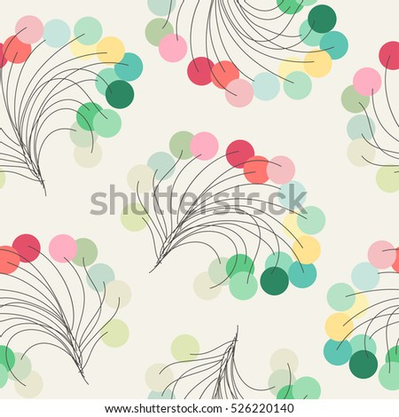 Elegant seamless pattern with bunch of pastel multicolored beads
