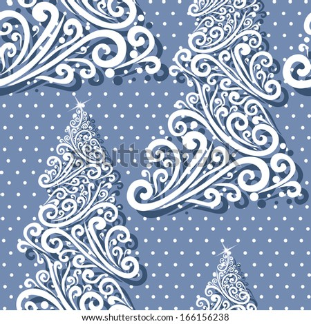 elegant seamless pattern with decorative floral Christmas trees, winter background - stock vector