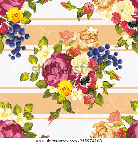 Elegant seamless pattern with decorative peony flowers - stock vector