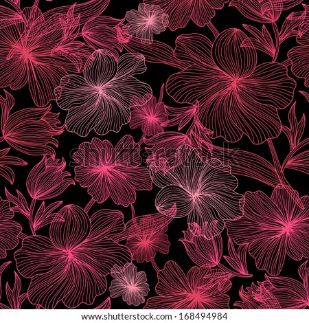 elegant seamless pattern with decorative pink flowers for your design - stock vector