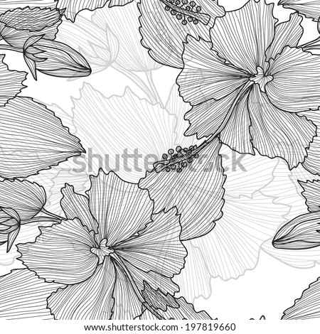 Elegant seamless pattern with decorative vintage hibiscus flowers, design element. Beautiful floral background. Floral pattern for wedding invitations, greeting cards, scrapbooking, print. - stock vector
