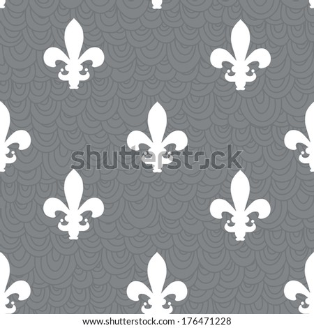 elegant seamless pattern with fleur de lis symbol, design element - stock vector