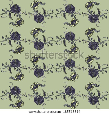 Elegant Seamless pattern with flowers ornament, vector floral illustration in vintage style