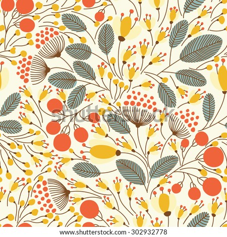 Elegant seamless pattern with flowers, vector illustration - stock vector