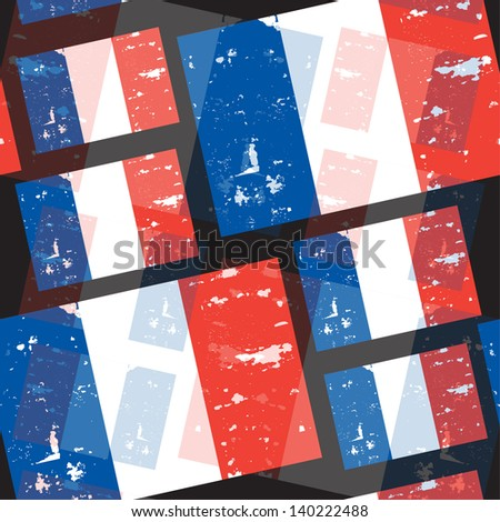 elegant seamless pattern with French Republic flag - stock vector