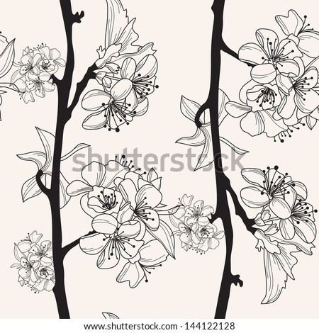 elegant seamless pattern with hand drawn cherry blossom for your design - stock vector